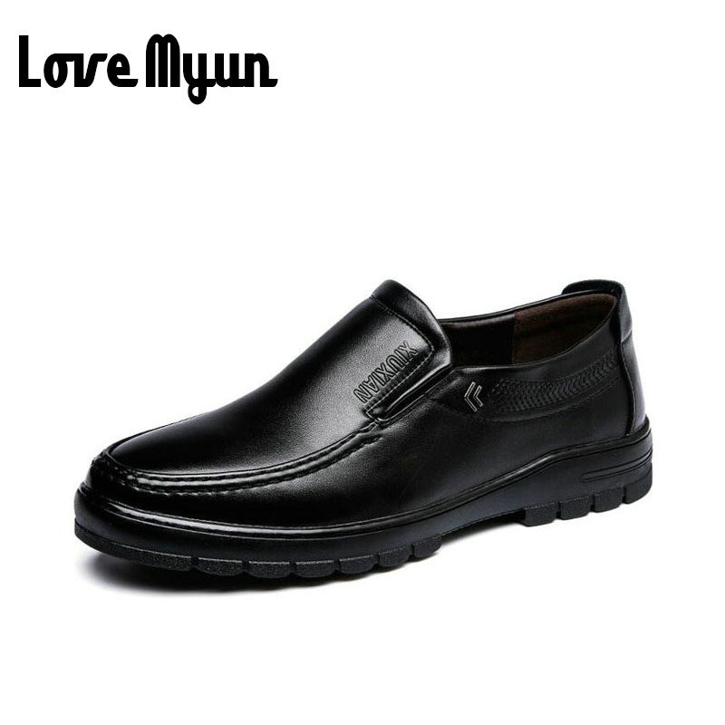2017 brand new spring Middle-aged mens slip shoes dad genuine leather shoes Flats Shoes Soft antiskid durable shoes WA-13