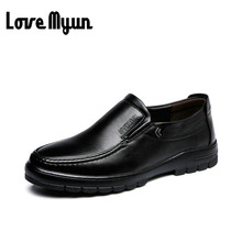 Buy 2017 brand new spring Middle-aged mens slip shoes dad genuine leather shoes Flats Shoes Soft antiskid durable shoes WA-13 for $18.89 in AliExpress store