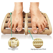 Stress Relief Wooden Dual Foot Massager Roller Relieve Plantar Fasciitis Acupressure/ Reflexology Tool Relieve Blood Circulation