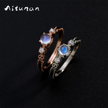 Aitunan 925 Silver Zircon Crystal Moonstone Rings For Women Natural Stone Rose Gold Color Wedding Ring Jewelry Accessories