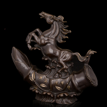 Arts Crafts Copper Chinese ancient bronze Horse figurine fengshui Lucky Statue antiques home hotel decoration High-grade Gifts