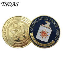 US (Central Intelligence Agency) CIA Coin 40g/pc, Colorful Pure Gold Coin 40*3mm Military Metal Coin as Commemorative Coin(China)