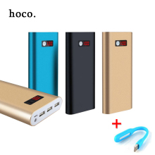 hoco 20000mah metal Power Bank External Battery Pack 3 USB + led light Charger Portable Metal Charger for All Phone