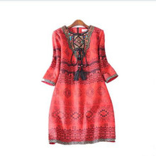 2017 spring high quality new arriving personality ethnic style classic retro bead embroidery printing suede lady ladies dress(China)