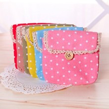 Free shipping BF050 Lace cotton sanitary napkin bag Dot Fabric sanitary cotton bags storage bag 12*12.5cm(China)