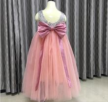 Children Baby Fairy Removable Bow Sequined Party Dresses, Girls Princess Flower Bridesmaid Long Dress  5 pcs/lot, Wholesale