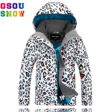 Gsou Snow Ski Jacket Kids Waterproof Winter Snow Jacket Thermal Snowboard Girls Coat Outdoor Leopard print Mountain Ski Clothes(China)