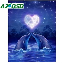 AZQSD 3d DIY Diamond Embroidery PAINTING Animals of Diamond Painting Kits love Dolphins Cross Stitch Kit Mosaic bb1598