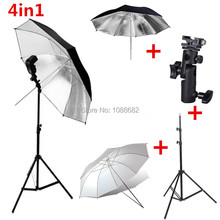 4in1 Photography Lighting Kit Extendable Light Stand Tripod + E Type Flash Shoe Bracket + 33 inch Soft and Reflecting Umbrella