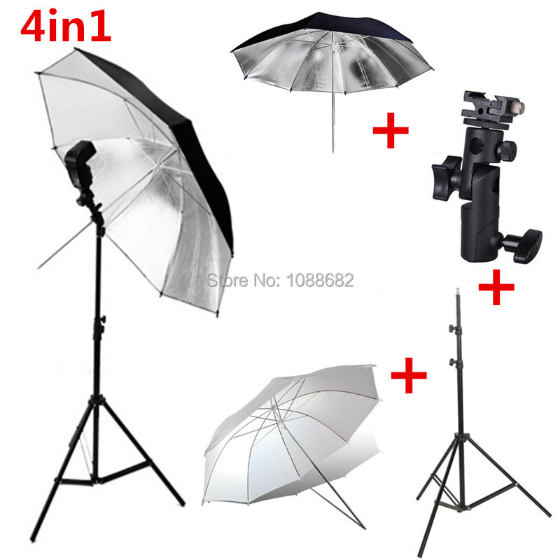 4in1 Photography Lighting Kit Extendable Light Stand Tripod + E Type Flash Shoe Bracket + 33 inch Soft and Reflecting Umbrella<br><br>Aliexpress