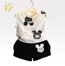 2017 Summer Cartoon Toddler Baby Kids Girls Clothes Set Minnie Mouse Children Girls Clothing Set T-Shirt + Shorts mickey Outfits