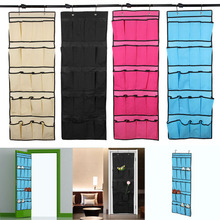 20 Pockets Shoe Organizer Over the Door Shoe Organizer Space Saver Rack Non-Woven Hanging Storage Bag Black/Yellow/Rose/Blue