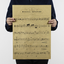 musical notation fingerpost drawing poster nostalgic retro vintage kraft paper For bar pub home decor 51x35cm ON128(China)