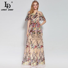 High Quality 2017 Fashion Designer Runway Maxi Dress Women's Short Sleeve Gorgeous Voile Floral Embroidery Ball Gown Long Dress