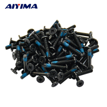 AIYIMA 100pcs M2*12mm Small flat head Laptop Screws Tamper-resistant Screw notebook computers Carbon black nickel plating(China)