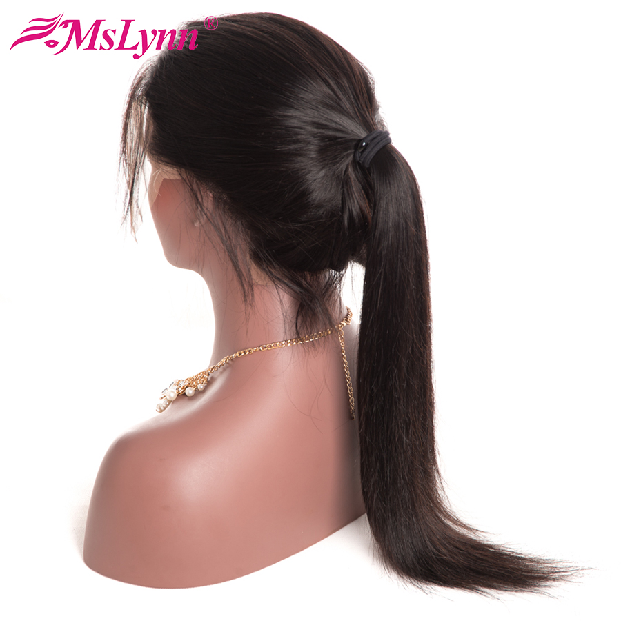 Mslynn Brazilian Straight Human Hair Lace Front Wigs Black Women 8″-24″ Pre Plucked Non Remy Hair Wig with Baby Hair