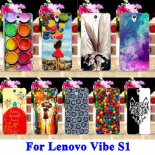 AKABEILA Mobile Phone Case For Lenovo Vibe S1 S1C50 S1A40 5.0 Cover Paintbox Chocolate Candies Balloon Girl Shell Rubber Bag(China)