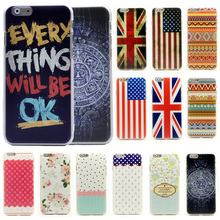 "6S Cartoon Flower Stripe Anchor Navy US UK Flag Tribal Pattern Matte Hard Case for iphone 6 6S 4.7"" Cell Phone Protective Cover"