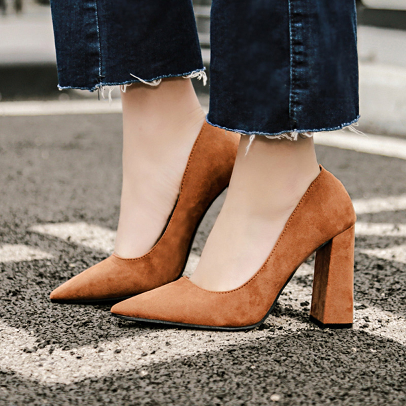 zapatos mujer Fashion Suede Leather Casual Pumps Pointed Toe Office Shoes Korean Style Block High Heel European American Shoes<br><br>Aliexpress