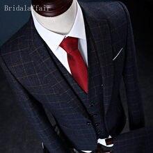 Bridalaffair Hommes Vêtements Angleterre Style Hommes Costume Ensemble 3 Pcs  (Veste + Pantalon + Gilet) Treillis Blazer De Maria. bfe93d4b699