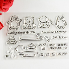 Coolhoo  Snow skatin winter clear stamp Eco-friendly Transparent Stamp For DIY Scrapbooking/Card Making/ Decoration Supplies