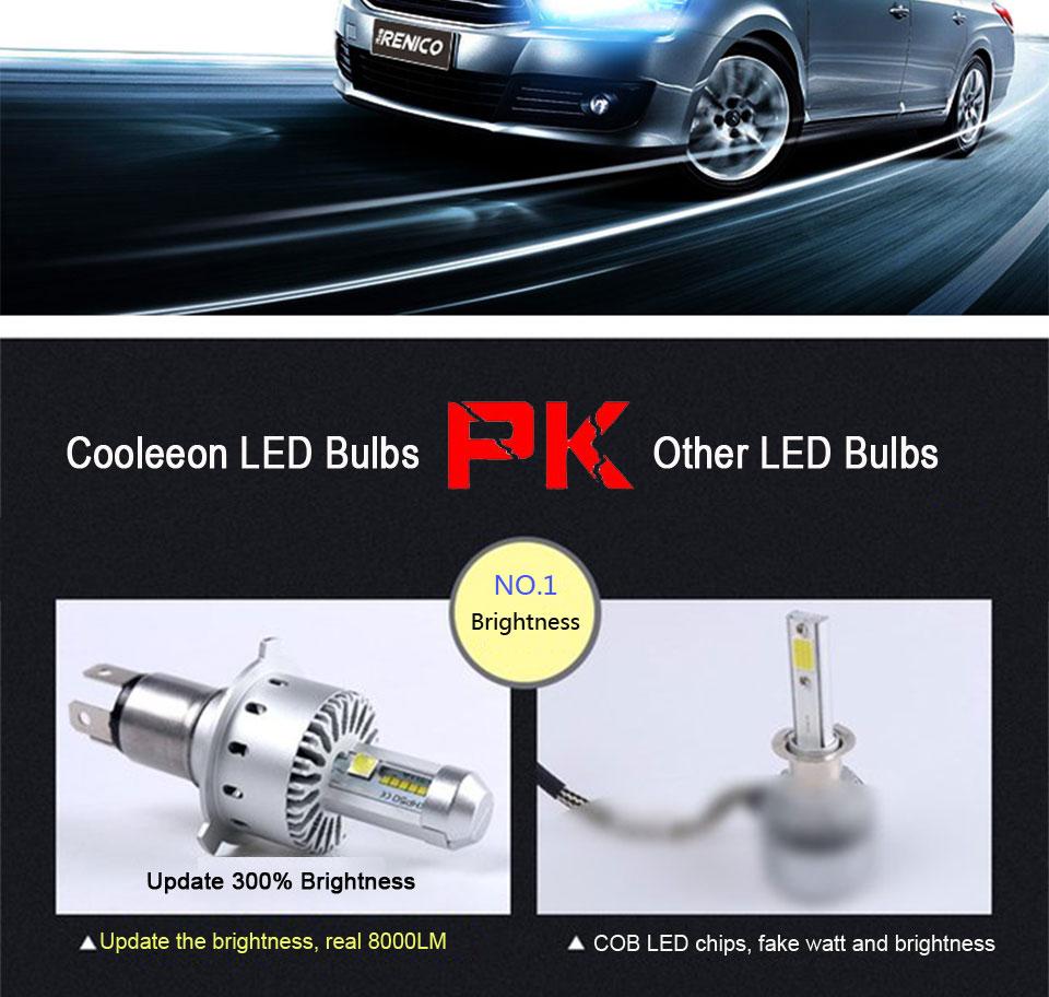 COOLEEON LED Car Lights H1 H4 H7 H11 9005 9006 Auto Headlamp Bulbs 12V 24V Cars Headlights 80W CREE LED Chips 6000K White Lamp (12)
