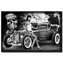 Hot Rod Muscle Car Art Silk Fabric Poster Print Classic Car Hot Model Girls Pictures For Living Room Decor Black White 026