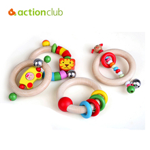 Actionclub 4pcs/set Wholesale Cute Baby Wood Toddler Crib Hand Shaking Toy Cartoon Animal beads Rattle ringing bell Infant toys