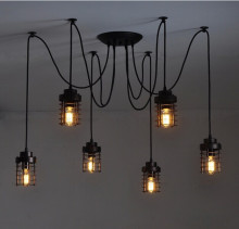 6 arm Spider Light  Fairy Scattering Flowers with metal lamp shade Chandelier E27 bakelite holders PVC wire Pendant Lamp