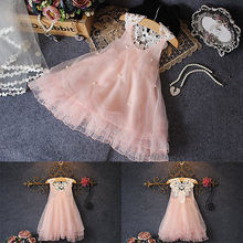 Toddler Baby Girls Party Dress Pearl Lace Tulle Gown Fancy Tutu Dress Sundress