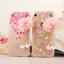 Glitter Crystal Metal Rope Pendant TPU Cover Case for iPhone 7 6 6s Plus Cases Luxury Rose Flower Girl Phone Case for iPhone 6 7