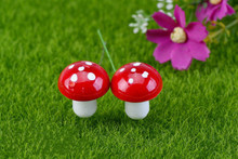 40Pcs New Year Red Foam Mushroom Micro Landscape Bonsai Plant Gardening Garden Accessory Decor Stakes