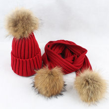 6e0d355893d Winter 2 Pieces Set Women Winter Hat Scarf For Girls Hat Real Raccoon Fur  Pom Pom Beanies Kids Cap Knitted Winter Hat Wholesale