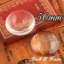 5pcs/lot Good Quality 50mm Domed Round Transparent Clear Magnifying Glass Cabochon Cameo Setting Base Set(China)