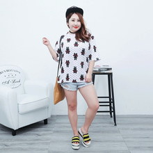 Summer Fashion American Style Casual T-shirt Short-Sleeve Women Clothing Cotton O-neck Polka Dot Printing Pink T-shirt Plus Size