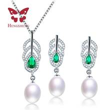 Amazing Price Beautiful AAAA Natural Pearl Jewelry Set With 9-10mm High Luster Pearl, White Pink Purple Drop Pendant&earrings