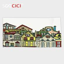 Custom Microfiber Ultra Soft Bath/hand Towel,Wanderlust Decor Old Town Cartoon Art With Colorful Apartments Building Windows