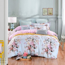 Beauty Flower Cotton Bedding Set Queen Size Duvet Cover Set Bedclothes Pink Bed Sheet Set XF64