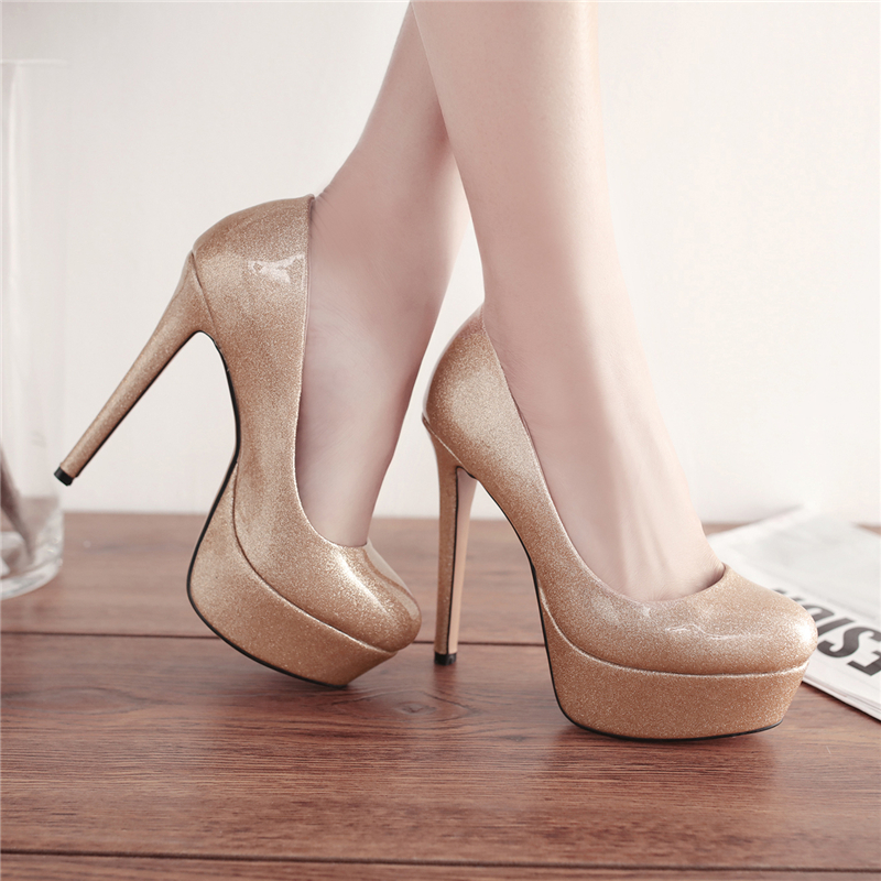 Brand Specular Reflection Patent Platforms High Heels Women Shoes Round Toe Sexy Brand High Heeled Shoes Womens  Ladies Pumps<br>