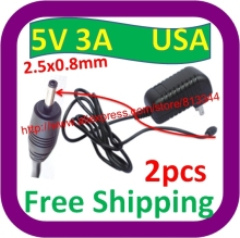 2 pcs Free Shipping Universal USA Pulg 2.5x0.8mm EU Plug Power AC Charger Adapter 5V 3A for Ampe A10 Tablet PC