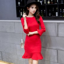 Buy 2017 korean new autumn winter women knitted sweater mermaid dress fashion flare sleeve slim mini dress robe pull women clothing for $19.31 in AliExpress store