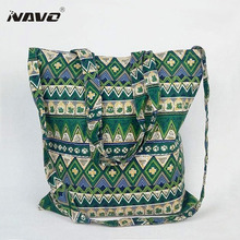 2016 Large reusable grocery tote bag national style big foldable shopping bag bohemian ethnic cotton ecobag fashion handbag(China)