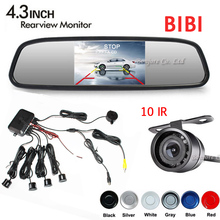 "Buy Dual Core Car Parking Sensor 4 Radars 4.3"" Mirror Monitor Auto Display 10 Ir Infrared Led Lights Night vision Rear View Camera for $44.00 in AliExpress store"