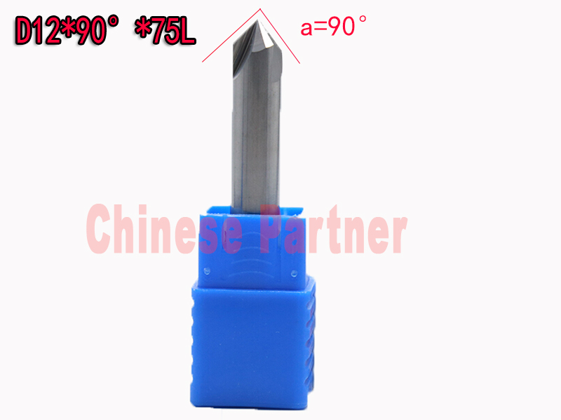 2pcs/lot 12mm*90degree HRC50 Solid carbide chamfering milling cutter Chamfer route bits for Aluminum knife tools<br>