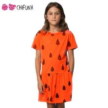 2016 New Fanshion Girls Dress Baby Girl Clothes Ropa Mujer Child Girls Orange Raindrops Painting Pattern Girls Princess Dress