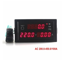 Red led display AC 200-450V 0-100A digital voltmeter Ammeter power meter compute active reactive power factor CT transformer(China)