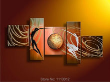 High Quality 5pcs Sets Sun Line Women Dancing Oil Painting On Canvas Home Wall Art Decoration Modern Picture For Living Room