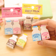 2 pcs/pack kawaii fruit milky mini rubber eraser creative stationery school supplies papelaria gift for kids