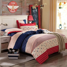 British style stars pattern print linens Cotton duvet cover set,3pc/4pc/6pc bedding sets twin/double/queen/king size