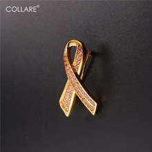 Collare Breast Cancer Brooches Lapel Pin Gold/Silver Color Awareness Breast Cancer Pin Pink Ribbon Brooches For Women B214(China)